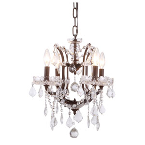 Elena Rustic Intent Four-Light Mini Chandelier with Clear Crystals