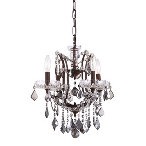 Elena Rustic Intent Four-Light Mini Chandelier with Silver Crystals