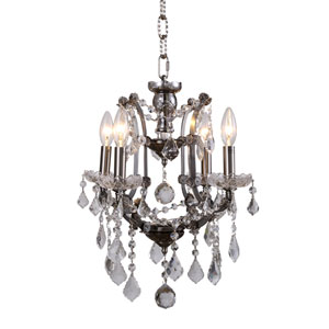 Elena Raw Steel Four-Light Mini Chandelier with Clear Crystals