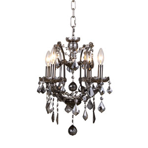 Elena Raw Steel Four-Light Mini Chandelier with Silver Crystals