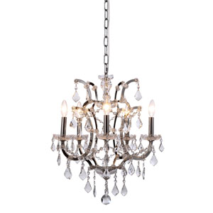 Elena Polished Nickel Five-Light Mini Chandelier with Clear Crystals
