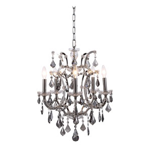 Elena Polished Nickel Five-Light Mini Chandelier with Silver Crystals