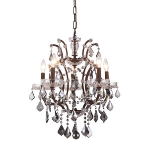 Elena Rustic Intent Five-Light Mini Chandelier with Silver Crystals