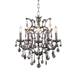 Elena Raw Steel Five-Light Mini Chandelier with Silver Crystals