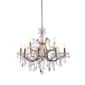 Elena Polished Nickel 12-Light Chandelier with Clear Crystals