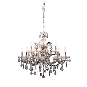 Elena Polished Nickel 12-Light Chandelier with Silver Crystals