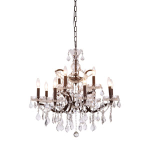 Elena Rustic Intent 12-Light Chandelier with Clear Crystals