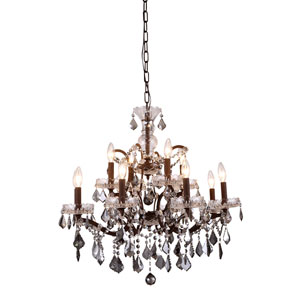 Elena Rustic Intent 12-Light Chandelier with Silver Crystals