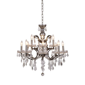 Elena Raw Steel 12-Light Chandelier with Clear Crystals