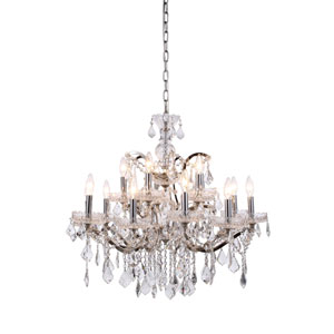 Elena Polished Nickel 15-Light Chandelier with Clear Crystals