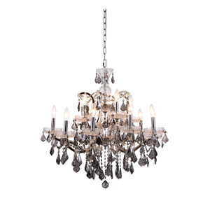 Elena Polished Nickel 15-Light Chandelier with Silver Crystals