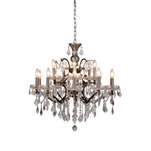 Elena Raw Steel 15-Light Chandelier with Clear Crystals