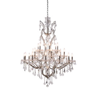 Elena Polished Nickel 25-Light Chandelier with Clear Crystals