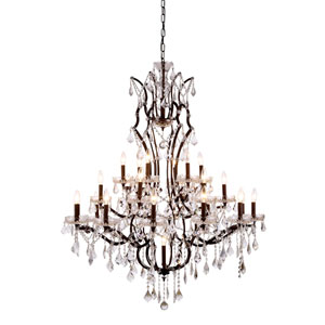 Elena Rustic Intent 25-Light Chandelier with Clear Crystals