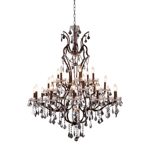 Elena Rustic Intent 25-Light Chandelier with Silver Crystals