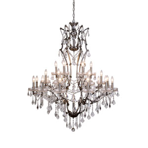 Elena Raw Steel 25-Light Chandelier with Silver Crystals