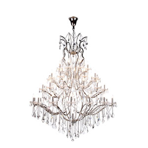 Elena Polished Nickel 49-Light Chandelier with Clear Crystals