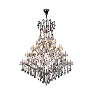Elena Polished Nickel 49-Light Chandelier with Silver Crystals
