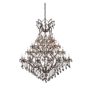 Elena Raw Steel 49-Light Chandelier With Silver Crystals