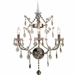 Elena Polished Nickel Three-Light Wall Sconce with Silver Crystals