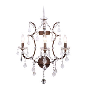 Elena Rustic Intent Three-Light Wall Sconce with Clear Crystals