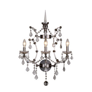 Elena Raw Steel Three-Light Wall Sconce with Clear Crystals