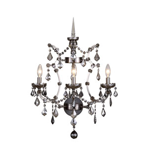 Elena Raw Steel Three-Light Wall Sconce with Silver Crystals