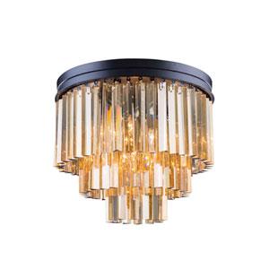 Sydney Mocha Brown Nine-Light Flushmount with Royal Cut Golden Teak Crystals