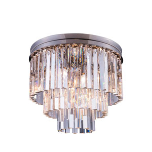 Sydney Polished Nickel Nine-Light Flushmount with Royal Cut Clear Crystals