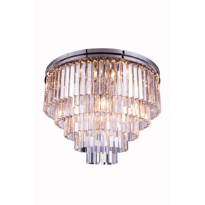 Sydney Polished Nickel Seventeen-Light Flushmount with Royal Cut Clear Crystals