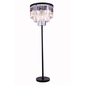 Sydney Mocha Brown Eight-Light Floor Lamp with Royal Cut Clear Crystals