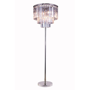 Sydney Polished Nickel Eight-Light Floor Lamp with Royal Cut Clear Crystals