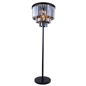 Sydney Mocha Brown Four-Light Floor Lamp with Royal Silver Shade Crystals