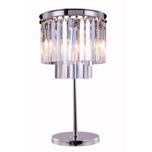 Sydney Polished Nickel Three-Light Table Lamp with Royal Cut Clear Crystals