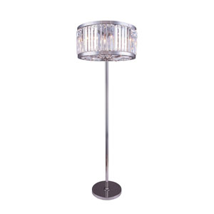 Chelsea Polished Nickel Twenty-Five-Inch Floor Lamp with Clear Crystals
