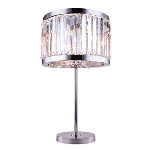 Chelsea Polished Nickel Eighteen-Inch Table Lamp with Clear Crystals