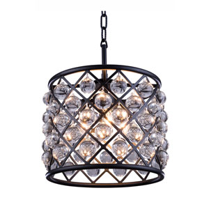 Madison Mocha Brown Three-Light Pendant with Royal Cut Clear Crystals