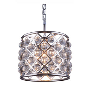Madison Polished Nickel Three-Light Pendant with Royal Cut Clear Crystals