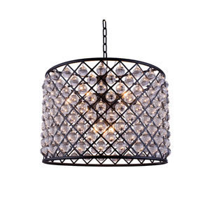 Madison Mocha Brown Eight-Light Pendant with Royal Cut Clear Crystals