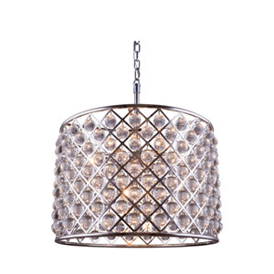 Madison Polished Nickel Eight-Light Pendant with Royal Cut Clear Crystals