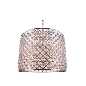 Madison Polished Nickel Twelve-Light Pendant with Royal Cut Clear Crystals