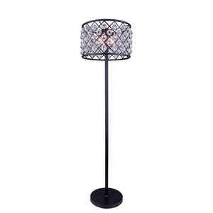 Madison Mocha Brown Four-Light Floor Lamp with Royal Cut Clear Crystals