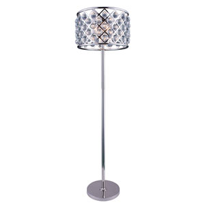 Madison Polished Nickel Four-Light Floor Lamp with Royal Cut Clear Crystals