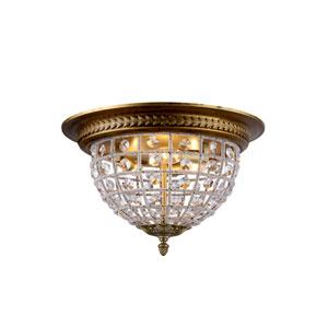 Olivia French Gold Three-Light Flush Mount