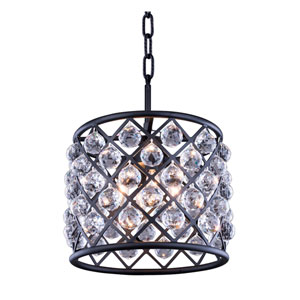 Madison Mocha Brown Four-Light Pendant with Royal Cut Clear Crystals