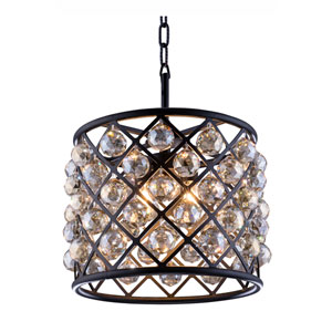 Madison Mocha Brown Four-Light Pendant with Royal Cut Golden Teak Crystals
