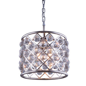 Madison Polished Nickel Four-Light Pendant with Royal Cut Clear Crystals