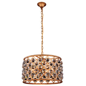 Madison Golden Iron 20-Inch Six-Light Pendant with Faceted Crystal