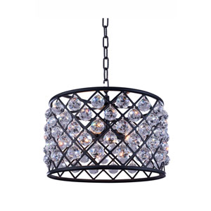 Madison Mocha Brown Six-Light Pendant with Royal Cut Clear Crystals