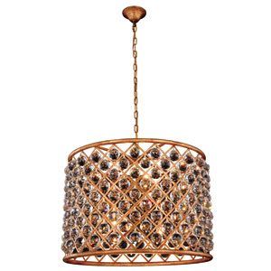 Madison Golden Iron 27.5-Inch Eight-Light Pendant with Faceted Crystal
